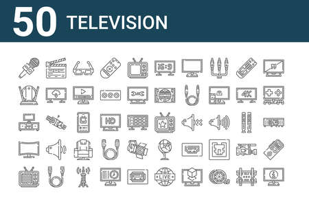 set of 50 television icons. thin outline