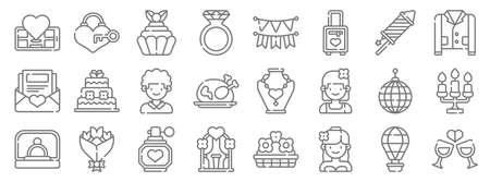 wedding line icons. linear set. quality vector line Ilustração
