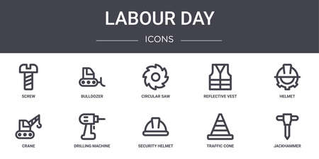 set of 10 labour day concept line icons.