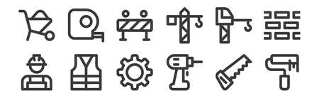 set of 12 linear labour day icons. thin outline
