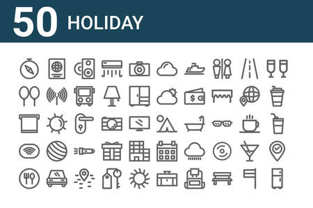 set of 50 holiday icons. thin outline
