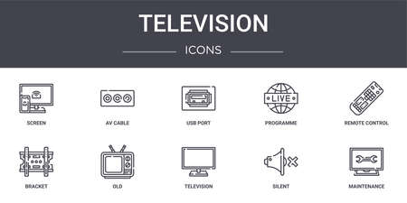 set of 10 television concept line icons.  イラスト・ベクター素材