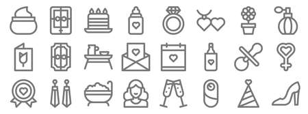 mothers day line icons. linear set. quality vector line
