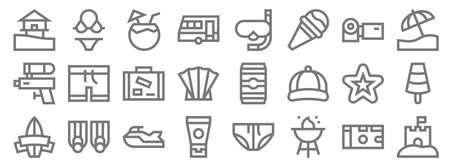 summer line icons. linear set. quality vector line Ilustração