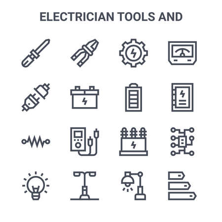 set of 16 electrician tools and concept vector line icons. Illusztráció