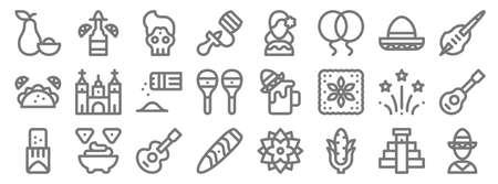 cinco de mayo line icons. linear set. quality vector line