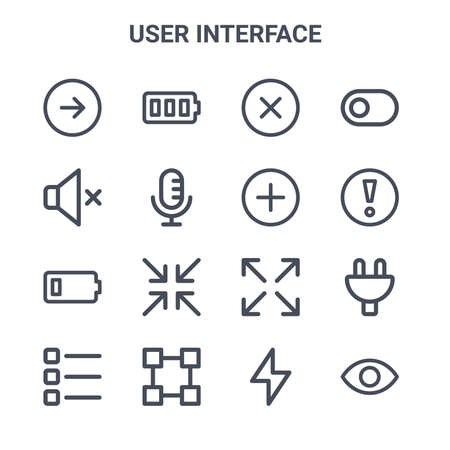 set of 16 user interface concept vector line icons.  イラスト・ベクター素材