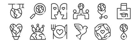 set of 12 linear world love icons. thin outline