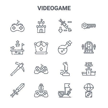 set of 16 videogame concept vector line icons.