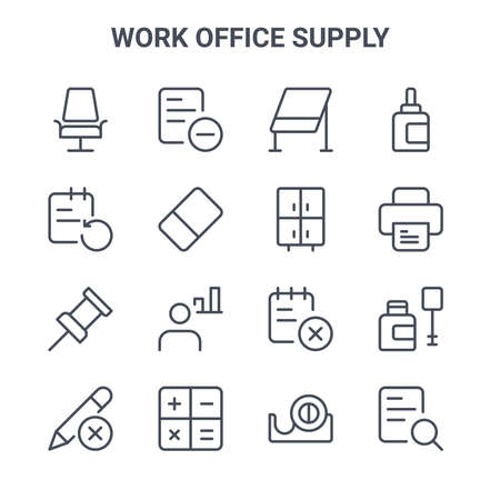 set of 16 work office supply concept vector line icons.  イラスト・ベクター素材