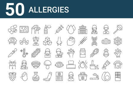 set of 50 allergies icons. thin outline