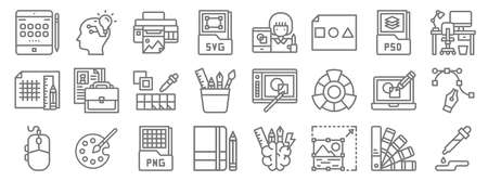 graphic design line icons. linear set. quality vector line Vettoriali
