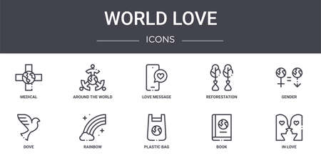 set of 10 world love concept line icons.