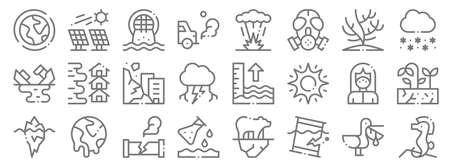 climate change line icons. linear set. quality vector line set