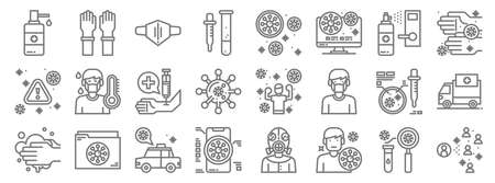 virus line icons. linear set. quality vector line