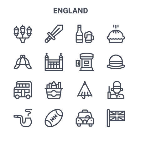 set of 16 england concept vector line icons. Ilustracja