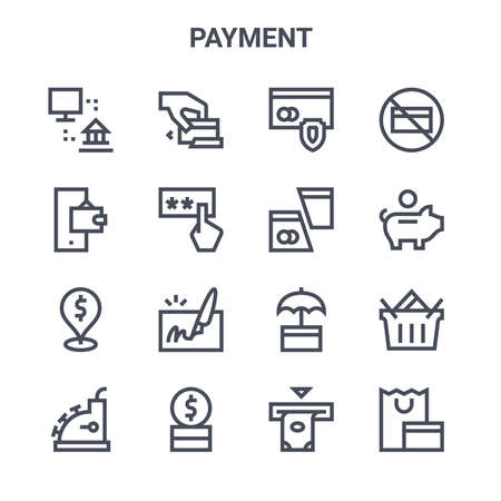 set of 16 payment concept vector line icons.