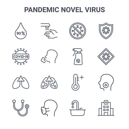 set of 16 pandemic novel virus concept vector line icons.