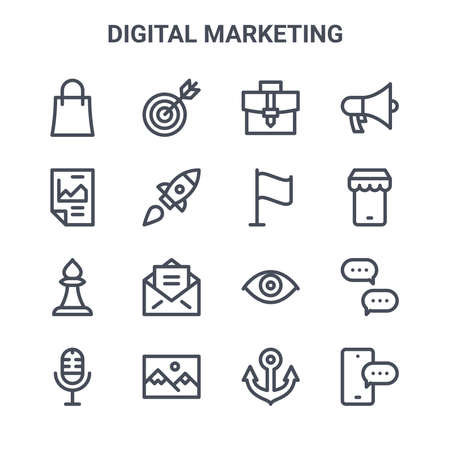 set of 16 digital marketing concept vector line icons.
