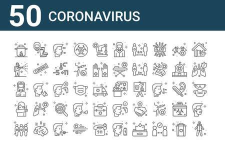 set of 50 coronavirus icons. thin outline