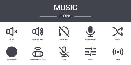 set of 10 music concept line icons.