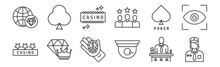set of 12 linear casino icons. thin outline
