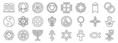 spiritual symbols line icons. linear set. quality vector line Illustration