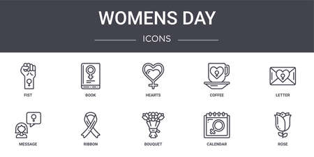 set of 10 womens day concept line icons.