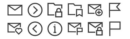 set of 12 linear email icons. thin outline