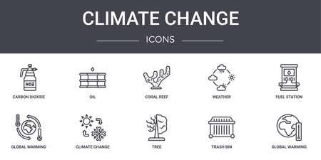 set of 10 climate change concept line icons. Illusztráció