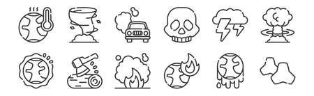set of 12 linear climate change icons. thin outline