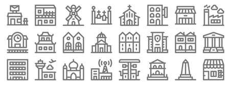 urban building line icons. linear set. quality vector line Illustration