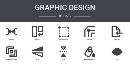set of 10 graphic design concept line icons.