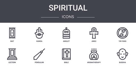 set of 10 spiritual concept line icons.
