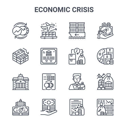 set of 16 economic crisis concept vector line icons.