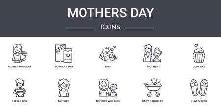 set of 10 mothers day concept line icons. Illustration