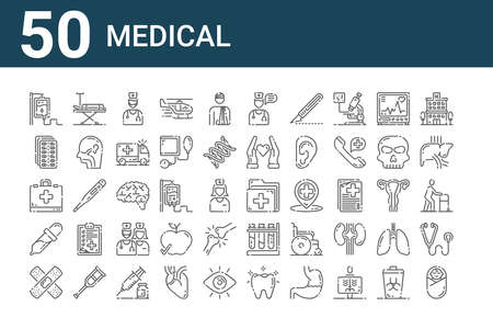 set of 50 medical icons. thin outline