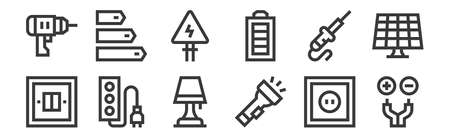 set of 12 linear electrician tools and elements icons. thin outline