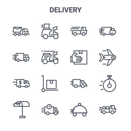 set of 16 delivery concept vector line icons. Vector Illustratie