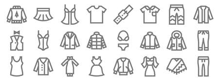 clothes line icons. linear set. quality vector line Vector Illustration