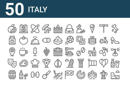 set of 50 italy icons. thin outline