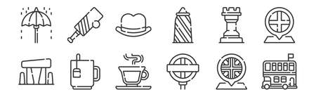 set of 12 linear england icons. thin outline Ilustração Vetorial