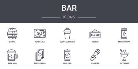 set of 10 bar concept line icons.