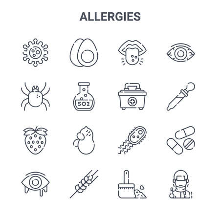 set of 16 allergies concept vector line icons.