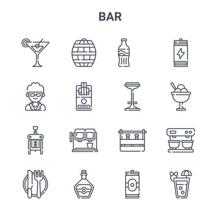 set of 16 bar concept vector line icons.