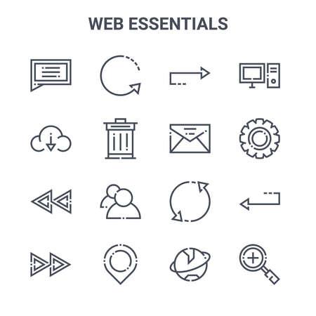set of 16 web essentials concept vector line icons. Vektoros illusztráció
