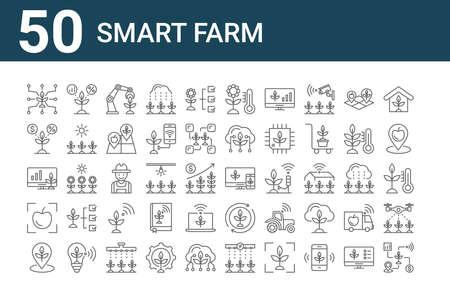 set of 50 smart farm icons. thin outline 向量圖像