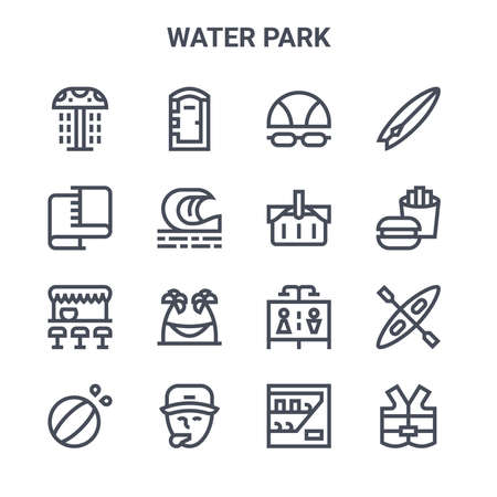 set of 16 water park concept vector line icons.