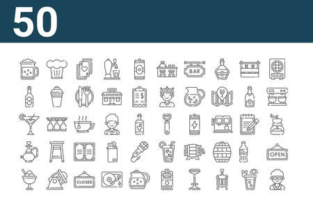 set of 50 bar icons. thin outline