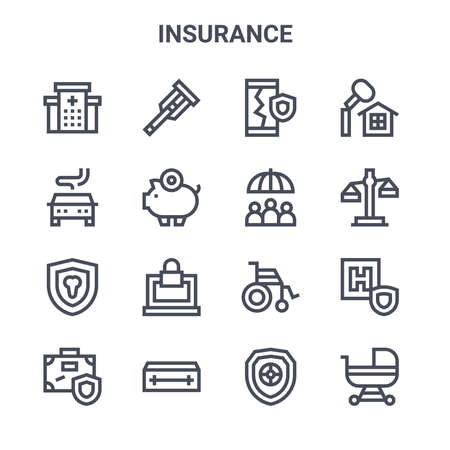 set of 16 insurance concept vector line icons.  イラスト・ベクター素材